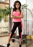 Спортивный костюм для фитнеса и йоги Issa Plus 1810 бриджи и майка борцовка черный с розовым