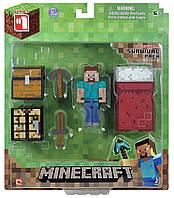 Фигурка Стив с кроватью набор для выживания Майнкрафт Minecraft Overworld Survival Pack Steve выживание оригин