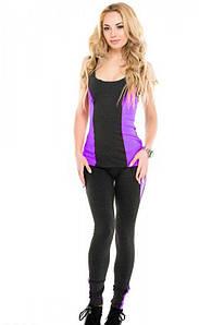 Спортивный костюм лосины с майкой Issa Plus 9529  темно - серый с фиолетовым