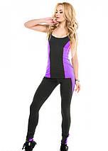 Спортивний костюм лосини з майкою Issa Plus 9529 темно - сірий з фіолетовим, фото 2