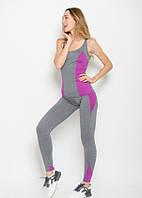 Спортивный костюм Issa Plus 9529 лосины и майка серый с фиолетовым