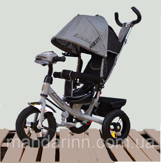 Велосипед детский трехколесный Azimut Lambortrike BC-17B AIR с фарой с USB с пультом Серый.