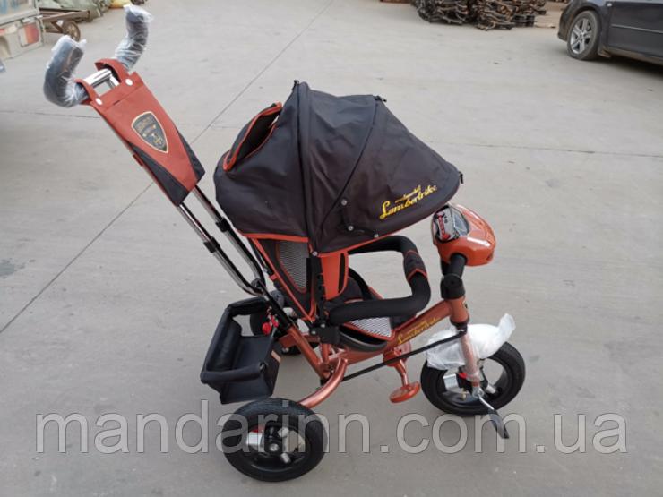 Велосипед детский трехколесный Azimut Lambortrike BC-17B AIR с фарой с USB с пультом Коричневый.
