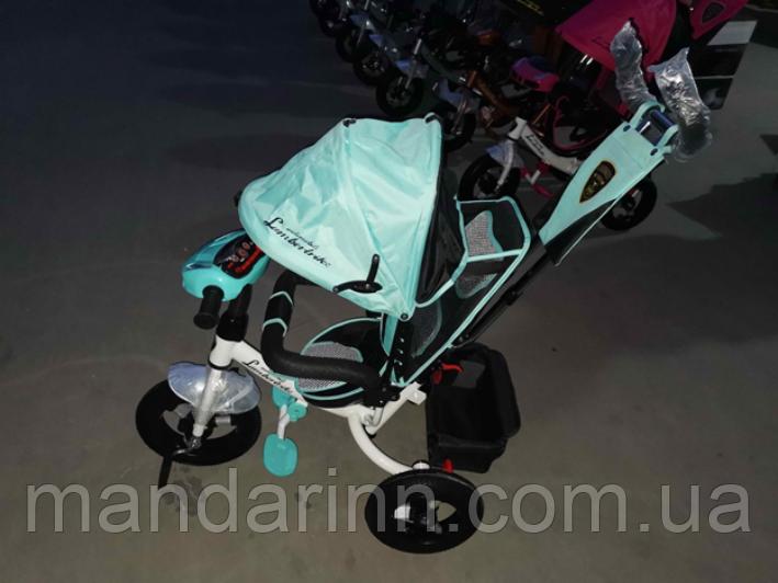 Велосипед детский трехколесный Azimut Lambortrike BC-17B AIR с фарой с USB с пультом Бирюзовый.