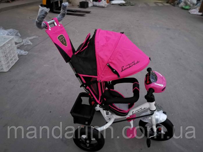 Велосипед детский трехколесный Azimut Lambortrike BC-17B AIR с фарой с USB с пультом Розовый.