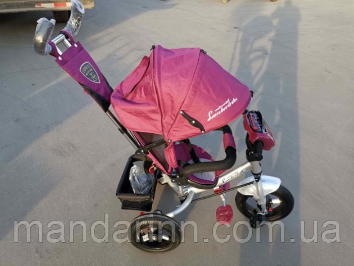 Велосипед детский трехколесный Azimut Lambortrike BC-17B AIR с фарой с USB с пультом Бордовый.