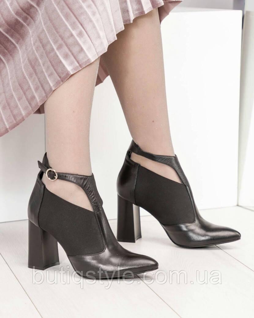 39 размер Женские черные туфли с резинкой на толстом каблуке натуральная кожа, Турция