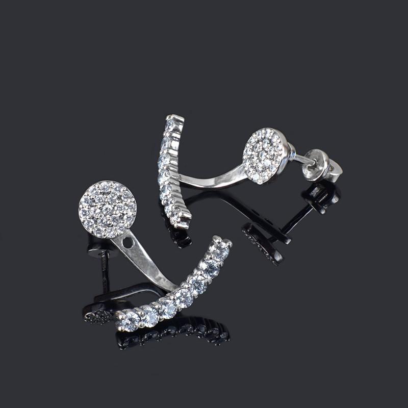 Серебряные серьги джекеты с фианитами