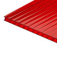 Сотовый красный поликарбонат 4 мм тмPolygal (лист 2,1*6,0 м)