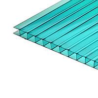 Сотовый бирюзовый поликарбонат 4 мм тмPolygal (лист 2,1*6 м)
