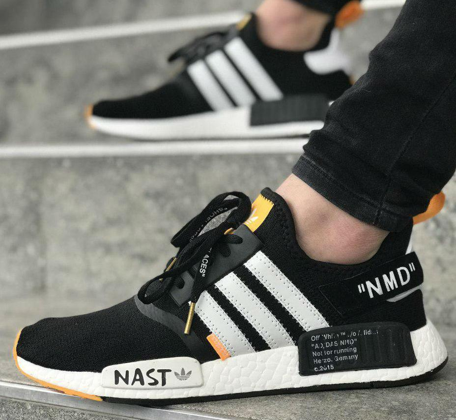 outlet store c93b2 f8c94 Off-White x Adidas NMD R1 PK Primeknit Black White Orange | кроссовки  мужские; черно-белые; летние; на пене