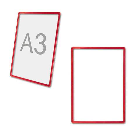 Рамка пластиковая ценникодержатель формата A3 красная информационная табличка б/у, фото 2