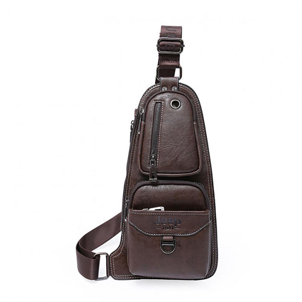 Кожаная мужская сумка через плечо Jeep 777 Bag коричневая