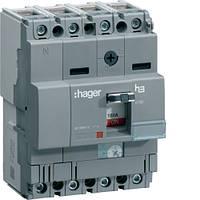 Hager Автоматический выключатель x160, In=25А, 4п, 40kA, Трег./Мфикс. HNA026H