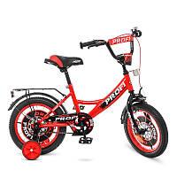 Детский велосипед Profi Original boy Y1446, 14 дюймов, с дополнительными колесами, красно-черный