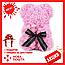 Красивый мишка из латексных 3D роз 25 см с лентой в подарочной коробке | Светло розовый, фото 2