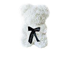 Красивый мишка из латексных 3D роз 25 см с лентой в подарочной коробке | Белый