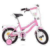 Детский велосипед Profi Star Y1291, 12 дюймов, с дополнительными колесами, розовый