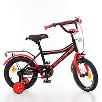 Детский велосипед Profi Top Grade Y14107, 14 дюймов, с дополнительными колесами, черно-красный