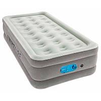 Надувная велюр кровать 67622, 191-97-46 см, серый,встроенный насос 220-240V