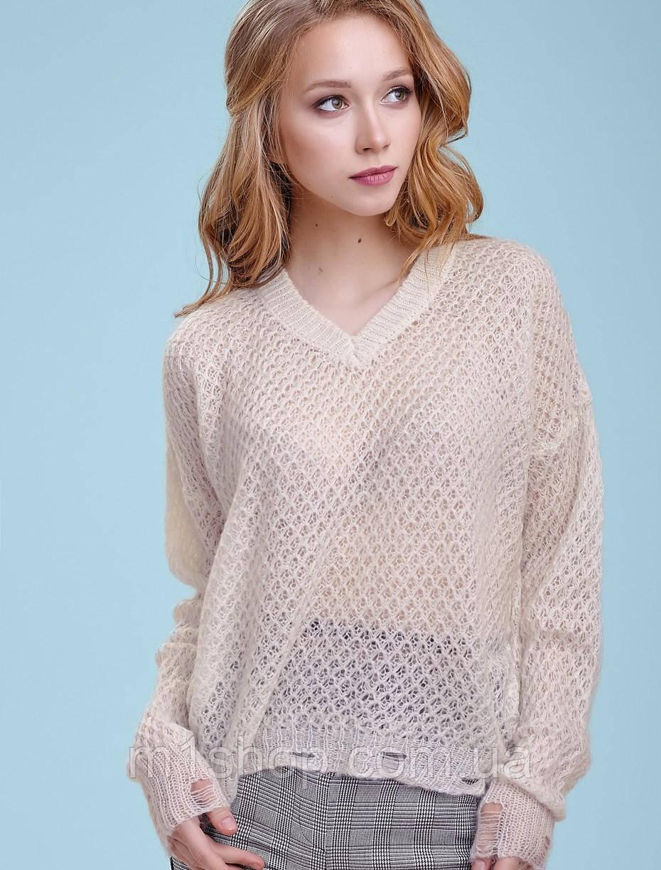 Женский вязаный пуловер-сетка (3335-3336 svt)