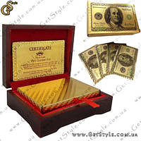 """Позолоченные игральные карты - """"Gold Cards"""" - Эксклюзивный дизайн в виде доллара! + Сертификат!, фото 1"""