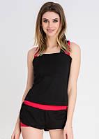 Спортивный костюм шортиками Issa Plus 9805 черный с малиновым