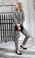 Брюки женские, классические, леопардовый принт (размер 42)