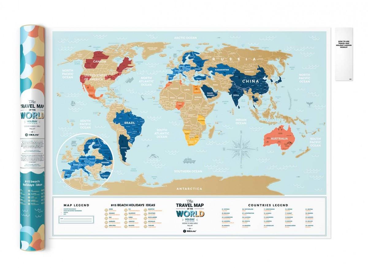 Скретч Карта Мира Travel Map ® Holiday Lagoon | карта путешествий | карта желаний | оригинальный подарок