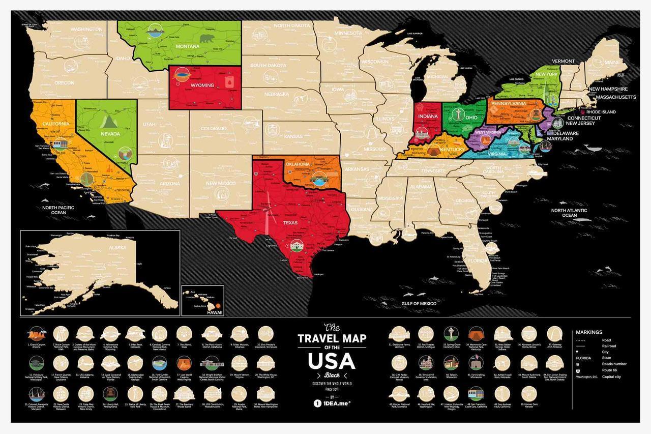 Скретч Карта The Travel Map ® of the USA Black   карта путешествий   карта желаний   оригинальный подарок