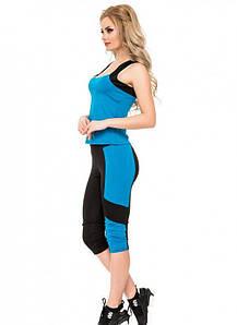 Спортивний костюм для залу Issa Plus 1810 бриджі та борцовка чорний з блакитним