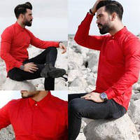 Облегающая эластичная рубашка алого цвета, фото 1