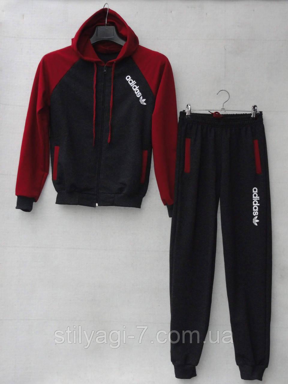 Спортивный костюм для мальчика на 8-12 лет черного с бордовым цвета c капюшоном Adidas оптом