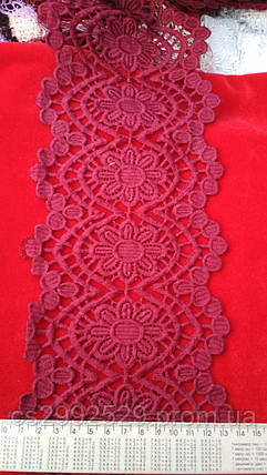 Кружево бордовый 20 м. Кружево с кордом плотное, фото 2