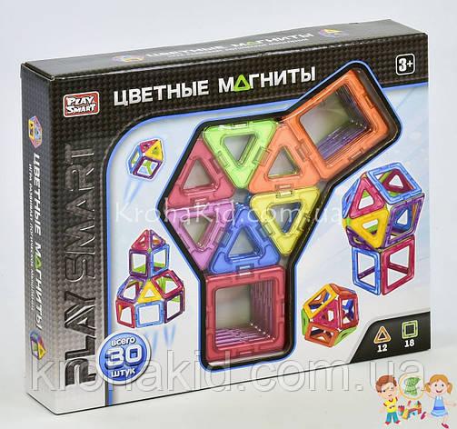"""Конструктор магнитный 2427 Play Smart """"Цветные магниты"""", 9 моделей (30 деталей), фото 2"""