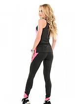 Спортивный костюм для спортзала лосины и майка темно - серый с розовым размер L, фото 3
