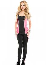 Спортивный костюм для спортзала лосины и майка темно - серый с розовым размер L, фото 2