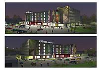 Освещение фасада подсветка здания проект Универмаг Харьков. Рекламное освещение. LED освещение.