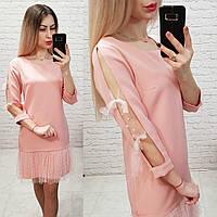 Модное женское платье! Цвет: пудра, арт 0354