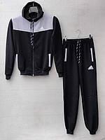 Спортивный костюм для мальчика на 8-12 лет черного c серым цвета c капюшоном Adidas оптом
