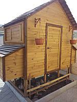 Деревянный готовый сборный переносной курятник с выгулом для птиц от производителя на Украине, фото 1