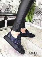 Женские кожаные кеды с принтом. /женская обувь/ 1213-5                 , фото 1