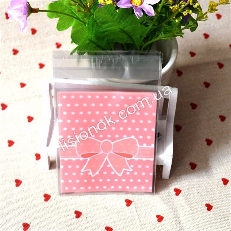 Пакувальний пакет абрикосовий бант 10смХ10см, для подарунків, солодощів та Hand-made виробів