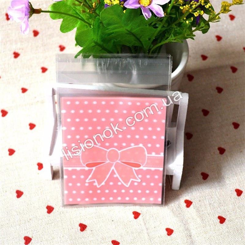 Упаковочный пакет абрикосовый бант 10смХ10см, для подарков, сладостей и и Hand-made изделий
