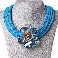 Ожерелье синее с цветком, чешское стекло, металл каркас и ткань блестящая