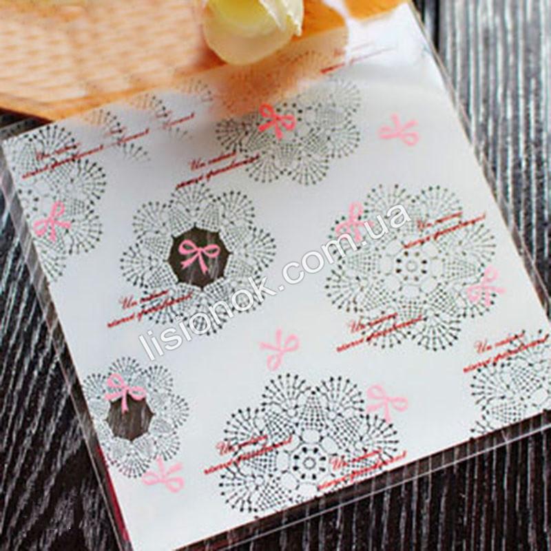 Упаковочный пакет белый с бантиками 10смХ10см, для подарков, сладостей и и Hand-made изделий