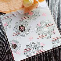 Упаковочный пакет белый с бантиками 10смХ10см, для подарков, сладостей и и Hand-made изделий, фото 1