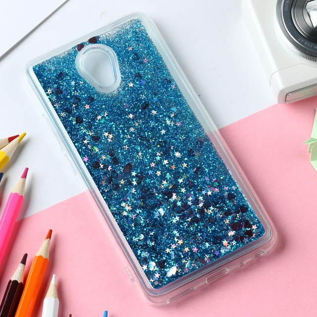 Чехол Glitter для Meizu M6S бампер Жидкий блеск Blue