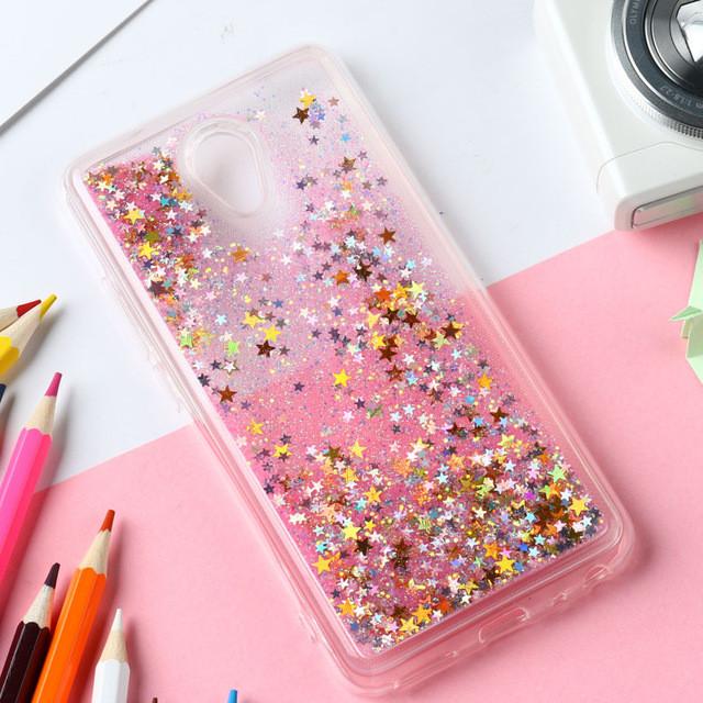 Чехол Glitter для Meizu M6S бампер Жидкий блеск звезды Розовый