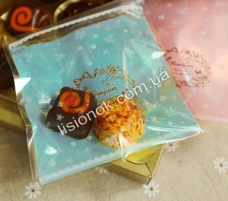 Пакувальний пакет блакитний 10смХ10см, для подарунків, солодощів та Hand-made виробів